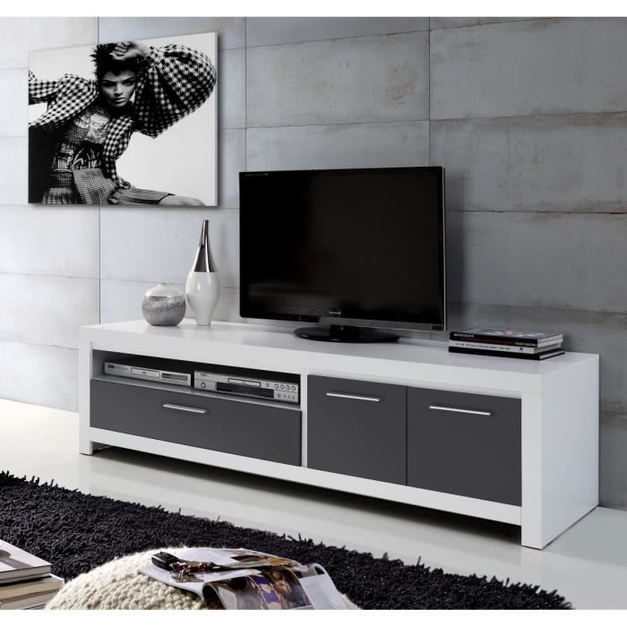 Cross meuble tv contemporain en bois blanc et gris l 175 for Meuble tv gris 110 cm