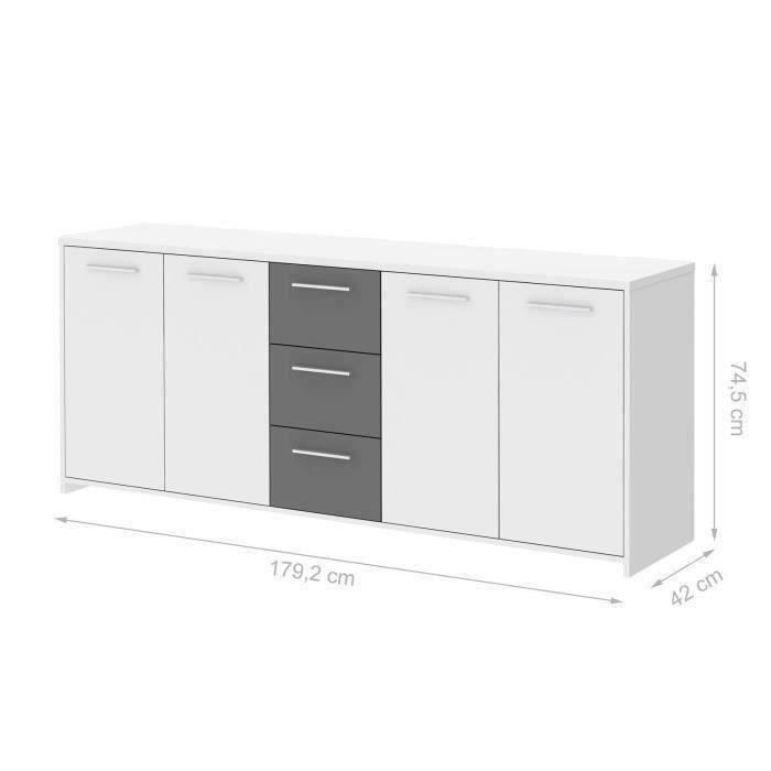 Finlandek buffet pilvi 180cm blanc et gris achat vente for Meuble buffet salon