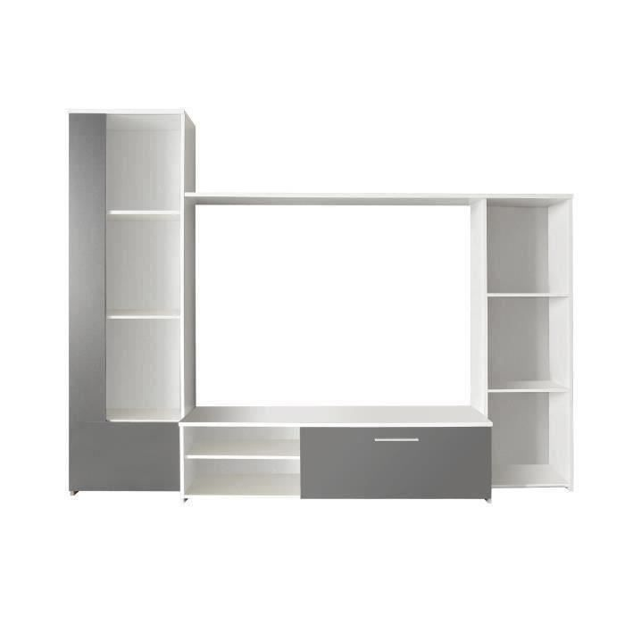 finlandek ensemble s jour pilvi contemporain blanc et gris l 220 cm achat vente meuble tv. Black Bedroom Furniture Sets. Home Design Ideas