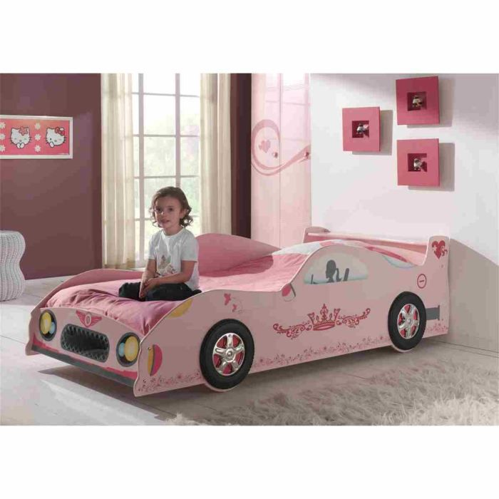 lizzy lit voiture enfant 90x200 cm laqu rose achat vente structure de lit lizzy lit. Black Bedroom Furniture Sets. Home Design Ideas