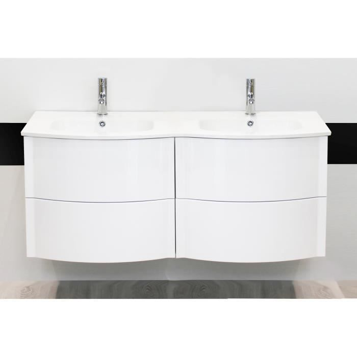 rony salle de bain compl te double vasque laqu blanc achat vente salle de bain complete. Black Bedroom Furniture Sets. Home Design Ideas