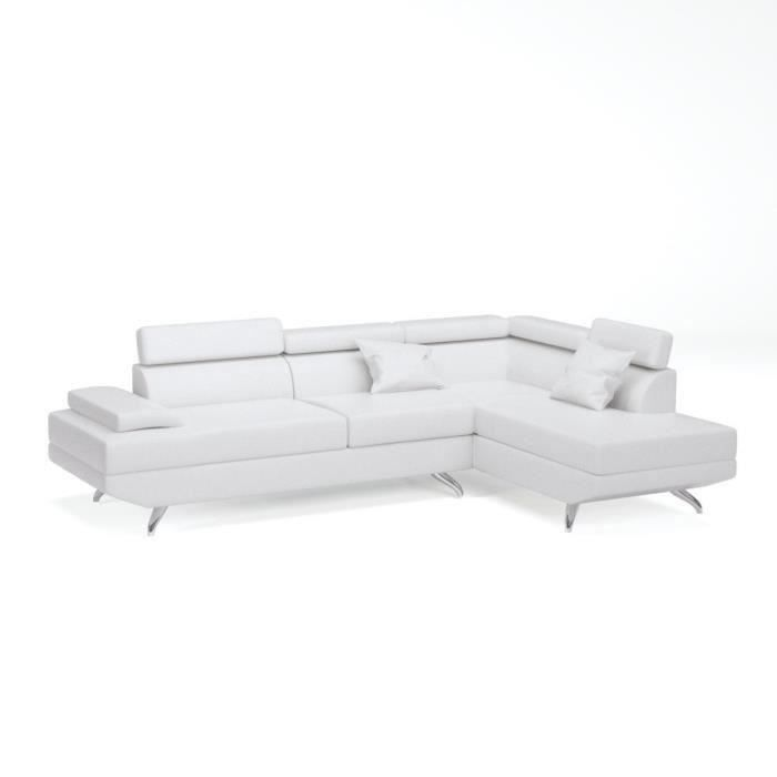 canap sofa divan scoop canap dangle droit 4 places simili blanc - Canape D Angle Blanc