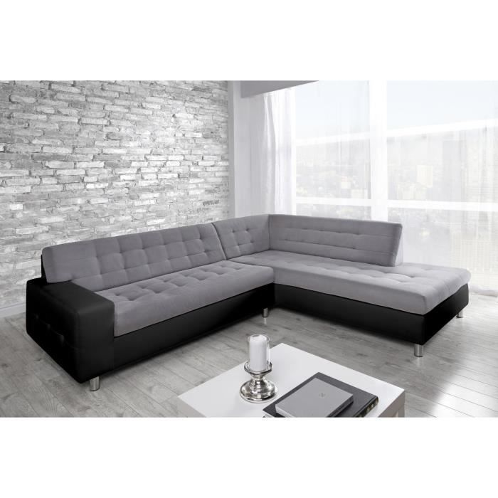 java canap d 39 angle droit simili et tissu 6 places achat vente canap sofa divan. Black Bedroom Furniture Sets. Home Design Ideas