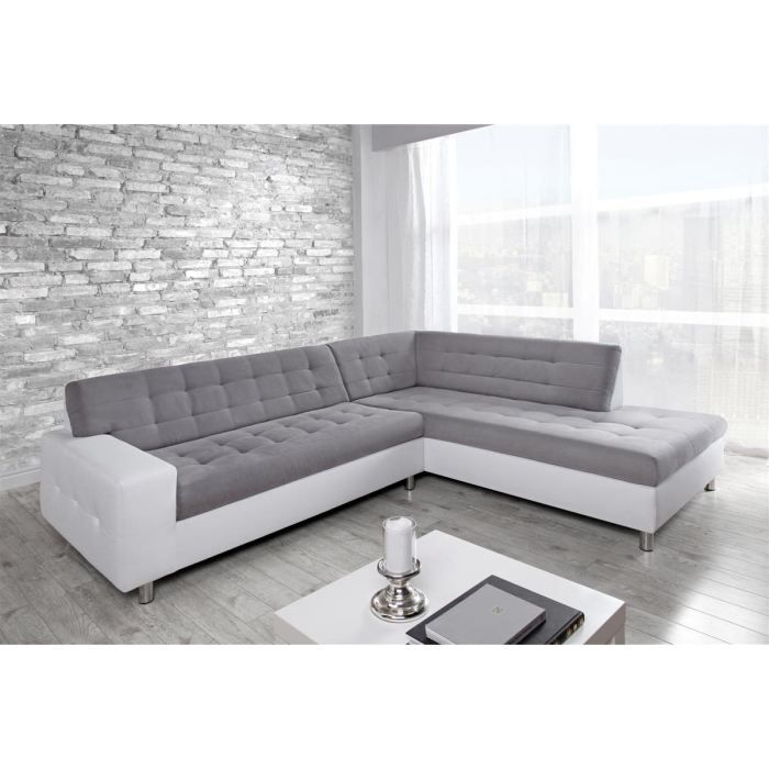 canap sofa divan java canap dangle droit 6 places tissu gris - Canape Angle Blanc Et Gris