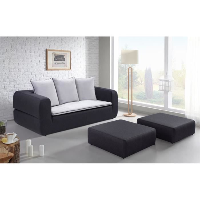 sweden canap convertible 3 places 2 grands poufs 204x105x88 cm tissu anthracite et gris. Black Bedroom Furniture Sets. Home Design Ideas