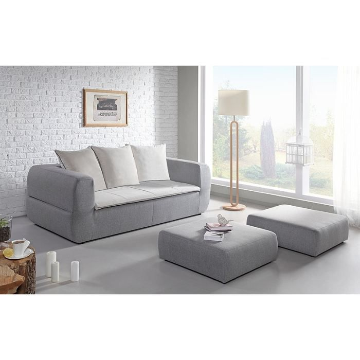 sweden canap convertible 3 places 2 grands poufs 204x105x88 cm tissu gris et blanc. Black Bedroom Furniture Sets. Home Design Ideas