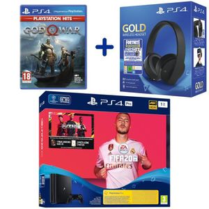 CONSOLE PS4 Console PS4 Pro 1To Noire + FIFA 20 + God Of War P