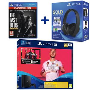 CONSOLE PS4 Console PS4 Pro 1To Noire + FIFA 20 + The Last of