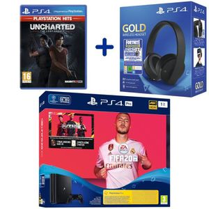 CONSOLE PS4 Console PS4 Pro 1To Noire + FIFA 20 + Uncharted: T