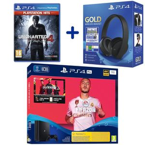 CONSOLE PS4 Console PS4 Pro 1To Noire + FIFA 20 + Uncharted 4: