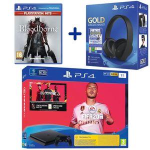 CONSOLE PS4 Console PS4 Slim 1To Noire + FIFA 20 + Bloodborne