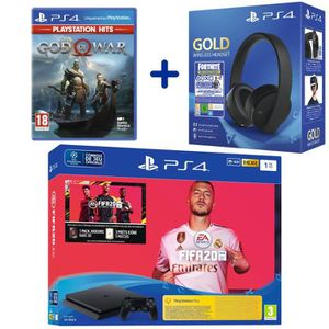 CONSOLE PS4 Console PS4 Slim 1To Noire + FIFA 20 + God Of War