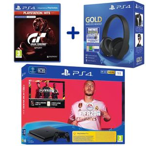 CONSOLE PS4 Console PS4 Slim 1To Noire + FIFA 20 + GT Sport PS