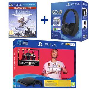 CONSOLE PS4 Console PS4 Slim 1To Noire + FIFA 20 + Horizon Zer