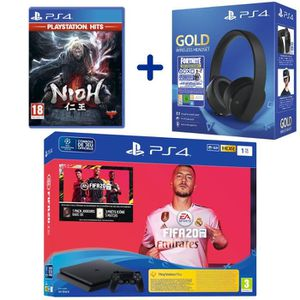 CONSOLE PS4 Console PS4 Slim 1To Noire + FIFA 20 + Nioh PSHits