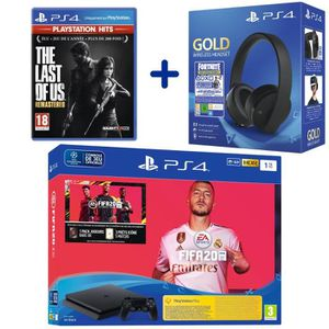 CONSOLE PS4 Console PS4 Slim 1To Noire + FIFA 20 + The Last of