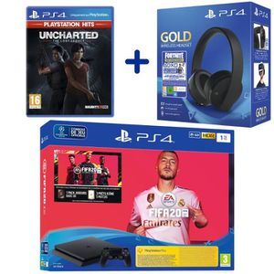 CONSOLE PS4 Console PS4 Slim 1To Noire + FIFA 20 + Uncharted: