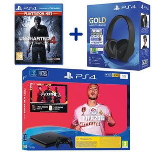 CONSOLE PS4 Console PS4 Slim 1To Noire + FIFA 20 + Uncharted 4