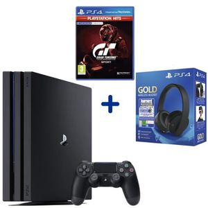 CONSOLE PS4 Console PS4 Pro 1To Noire + GT Sport PSHits + Casq