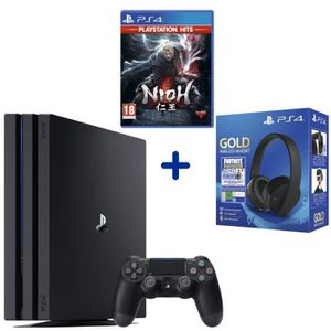 CONSOLE PS4 Console PS4 Pro 1To Noire + Nioh PSHits + Casque S