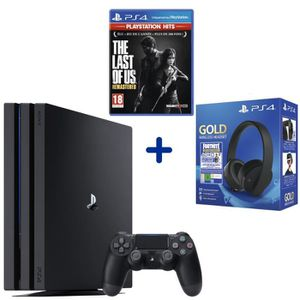 CONSOLE PS4 Console PS4 Pro 1To Noire + The Last of Us Remaste