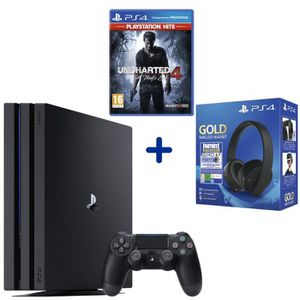 CONSOLE PS4 Console PS4 Pro 1To Noire + Uncharted 4: A Thief's