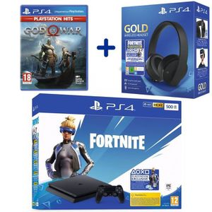 CONSOLE PS4 Console PS4 Slim 500Go Noire + God Of War PSHits +