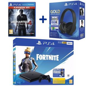 CONSOLE PS4 Console PS4 Slim 500Go Noire + Uncharted 4: A Thie