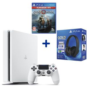 CONSOLE PS4 Console PS4 Slim 500Go Blanche + God Of War PSHits
