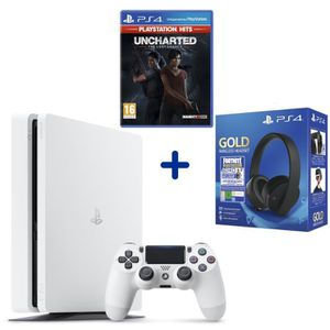 CONSOLE PS4 Console PS4 Slim 500Go Blanche + Uncharted: The Lo