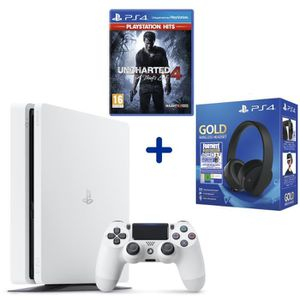 CONSOLE PS4 Console PS4 Slim 500Go Blanche + Uncharted 4: A Th