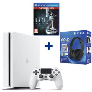 CONSOLE PS4 Console PS4 Slim 500Go Blanche + Until Dawn PSHits
