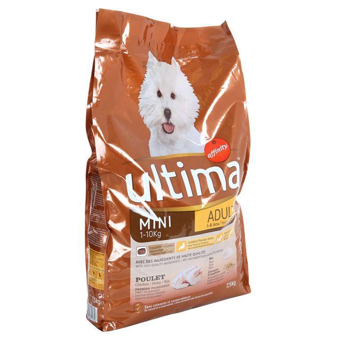 Ultima Croquettes Mini Adult Au Poulet Au Riz Et Céréales Petite Race Pour Chien Adulte 1 à 10kg 75kg X1