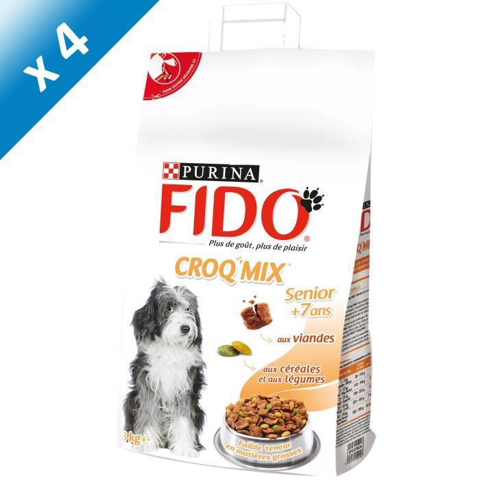 fido croquettes aux viandes c r ales et l gumes 3 kg x4 pour chien senior achat vente. Black Bedroom Furniture Sets. Home Design Ideas