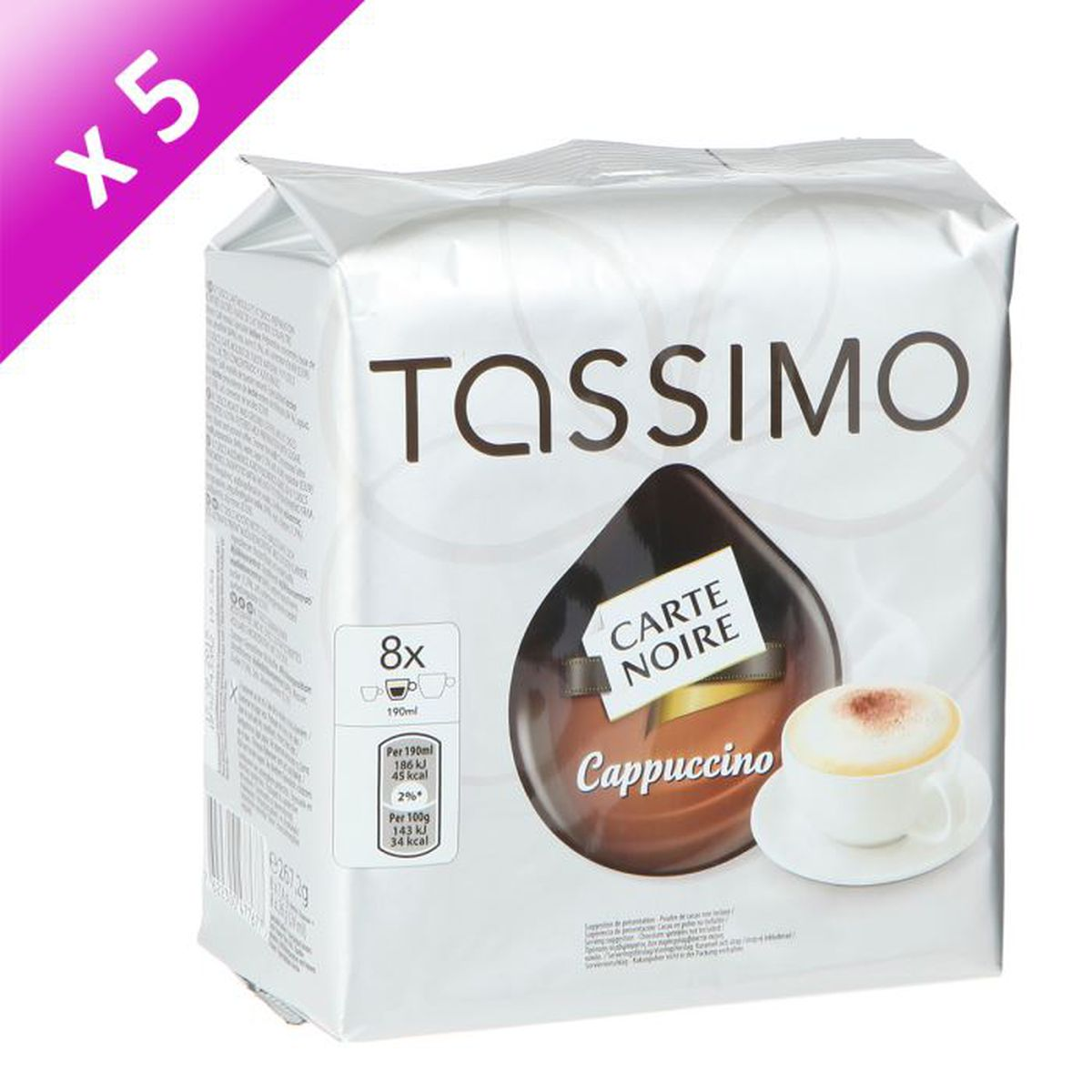 tassimo carte noire cappuccino 16 t discs 267g x5 achat vente caf chicor e t pcb5 x 16 t. Black Bedroom Furniture Sets. Home Design Ideas