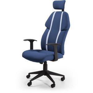 CHAISE DE BUREAU BUZZ Chaise de burreau - Simili et tissu bleu - St