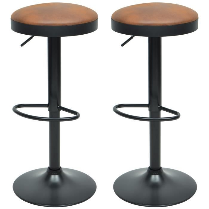 TABOURET GASOLINE Lot de 2 tabourets de bar - Simili brun -
