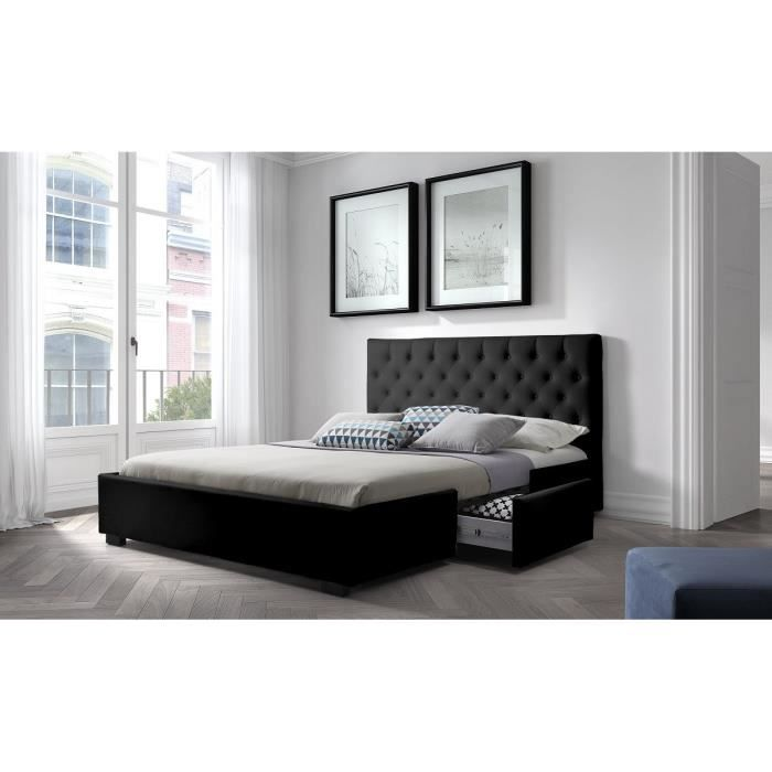 louis structure de lit 160x200 cm sommier 2 tiroirs simili noir achat vente. Black Bedroom Furniture Sets. Home Design Ideas