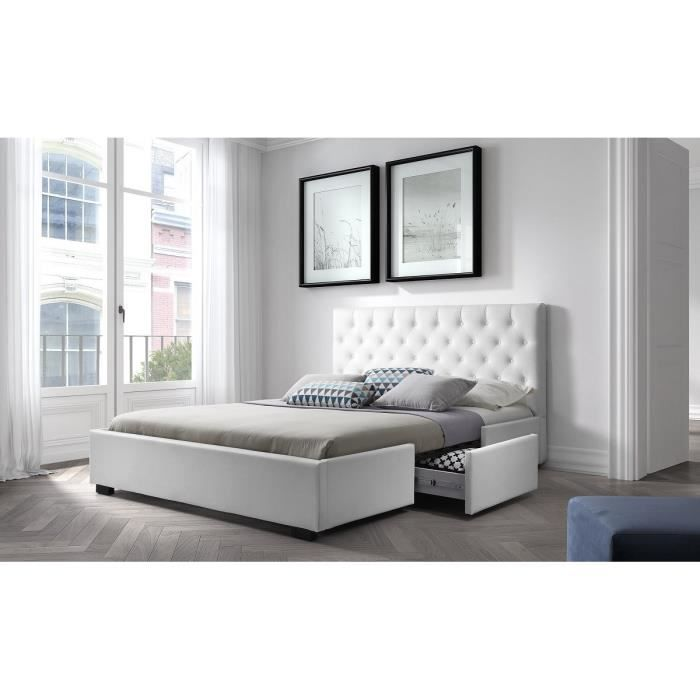 louis structure de lit 180x200 cm sommier 2 tiroirs simili blanc achat vente. Black Bedroom Furniture Sets. Home Design Ideas