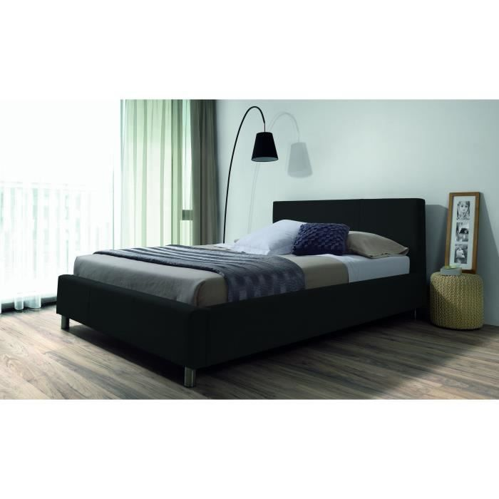 structure de lit marcus lit adulte en tissu 140 x 190 cm noir. Black Bedroom Furniture Sets. Home Design Ideas