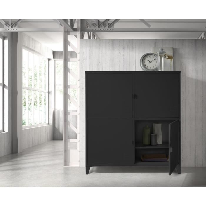 college rangement 4 portes h134 cm m tal noir achat. Black Bedroom Furniture Sets. Home Design Ideas