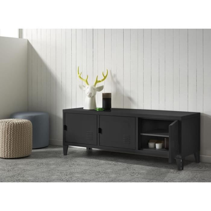 college meuble tv 120 cm m tal noir achat vente meuble tv college meuble tv 120 cm m tal. Black Bedroom Furniture Sets. Home Design Ideas