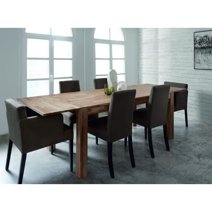 miles table extensible en ch ne massif 4 10 personnes 150 230x90 cm achat vente table a. Black Bedroom Furniture Sets. Home Design Ideas