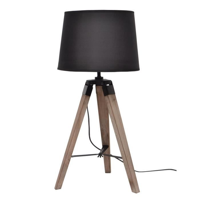 lampe poser e27 40 w 30 cm noir achat vente natural lampe poser bois noir tissu bois. Black Bedroom Furniture Sets. Home Design Ideas