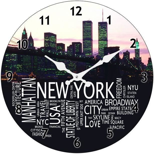 New york city horloge murale en verre d38 cm achat for Decoration murale geante new york