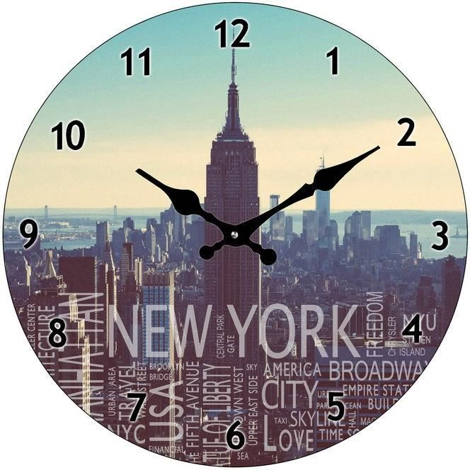 New york horloge murale en verre d38 cm achat vente for Horloge murale new york