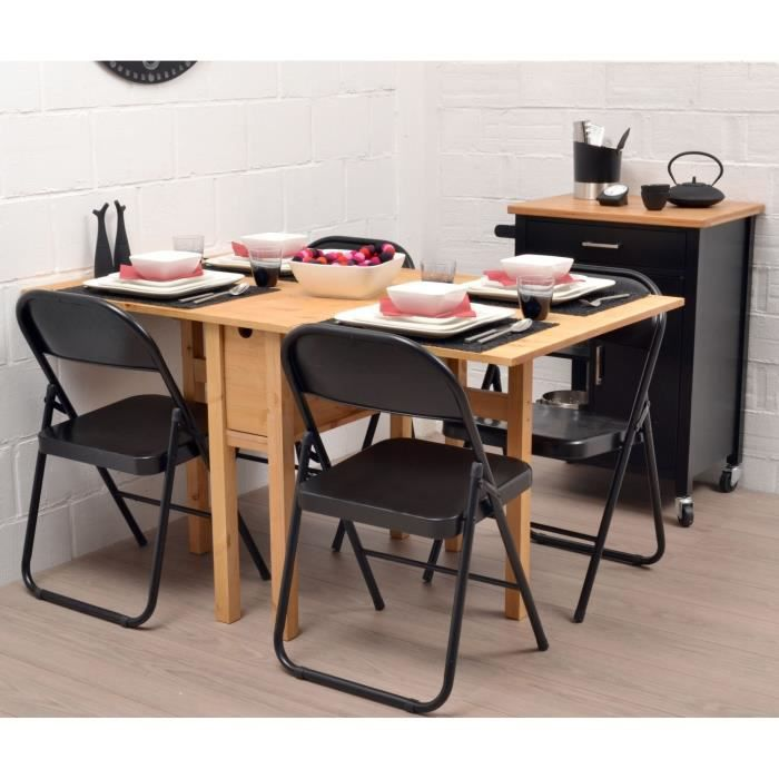 Noemie table pliante en pin massif 140 cm achat vente - Table de cuisine pliable ...