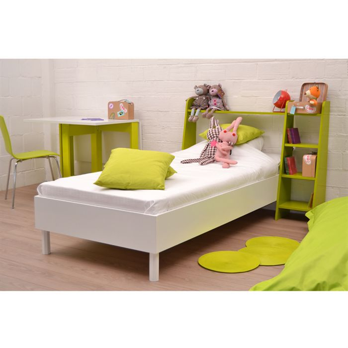 mouv lit enfant anis blanc 90cm t te de lit achat. Black Bedroom Furniture Sets. Home Design Ideas