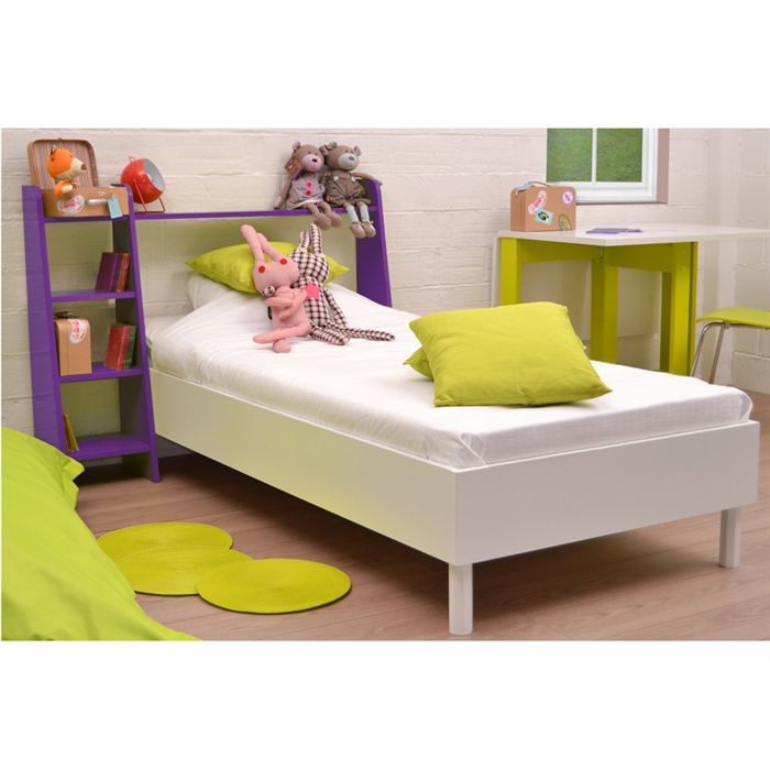 mouv lit enfant 90 cm violet blanc t te de lit achat vente lit complet mouv lit violet. Black Bedroom Furniture Sets. Home Design Ideas