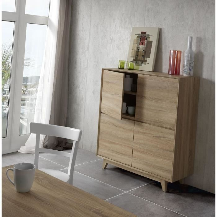 sonoma bahut haut coloris ch ne clair achat vente. Black Bedroom Furniture Sets. Home Design Ideas